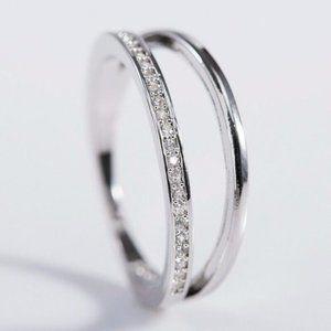 Creation 925 Silver Cubic Zircon Wedding Ring New